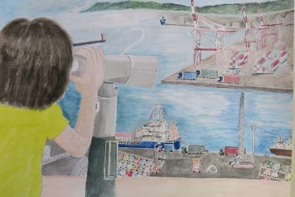 写真:昨年度コンクール児童絵画の部金賞作品