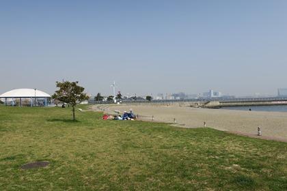 写真:砂浜の横の芝生の公園