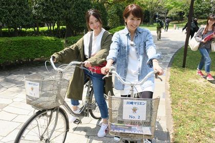写真:無料の貸自転車でサイクリング。
